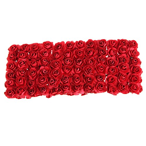Red Hat Rose Bouquet - Misright 144pcs DIY Rose Mini Artificial Flowers Bouquet Solid Color Wedding Decoration (Rose Red)