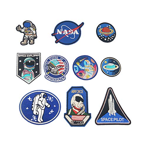 SPace Pilot /& Nasa Space logo 2 pack Iron On Patch Sew on Transfer Badge