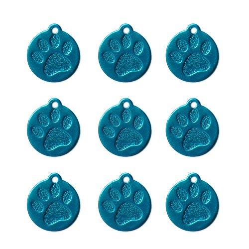 Round Paw Aluminium Alloy Pet Necklaces | for Dog Collar Ring | Personalized Custom Cute Engraved (20pcs) (Sterling Crystal Three Light)