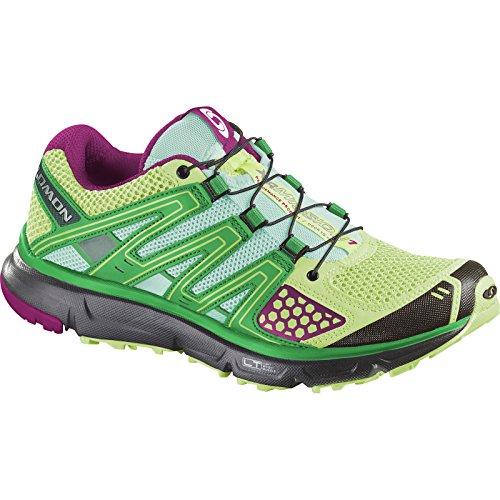 Salomon Women's XR Mission Trail Running Shoe, Firefly Green/Black/Mystic Purple, 10 M US