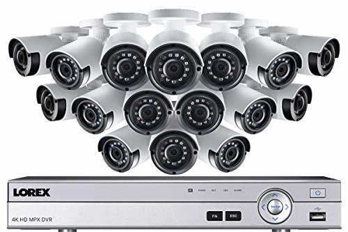 Lorex 4K 16 Channel 3TB DVR with 16 2K Outdoor Cameras, 130ft night vision