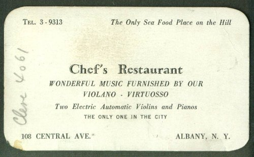 Chef's Restaurant Albany NY card Electric Automatic Violins & Pianos 1940s
