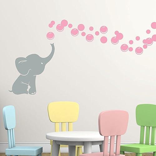 Amazoncom Elephant Bubbles Vinyl Wall Decal With Grey Elephant - Elephant wall decalsamazoncom elephant bubbles wall decal nursery decor baby
