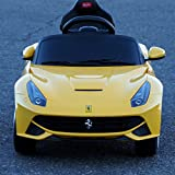 2015 New Licensed Ferrari F12 Berlinetta Kids Boy Girl Ride on Power Wheels Battery Toy Car,Remote control,Lights,Music-Yellow