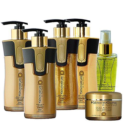 Keratin Cure 0% Formaldhyde Gold & Honey Bio-Brazilian 10.14 oz 6 piece Kit Gold & Honey 300 ML Keratin Cure by Keratin Cure