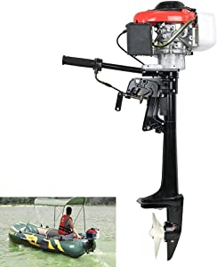 TABODD 4 Stroke 4HP Outboard Engine Motor, 4 HP 57CC Marine Boat Motor Engine with Air Cooling System and CDI Ignition for Small Boats Inflatable Fishing Boats