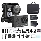 WiMiUS Sport Action Camera 4K Ultra HD Camcorder 12MP WiFi Waterproof Underwater Cameras 40M 170 Degree Wide Angle 2 Inch LCD Screen 2.4G Remote Control 2 Rechargeable Batteries and Accessories Kits, L2, Black