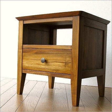 ナイトテーブル 無垢 ベッドサイドテーブル 木製 モダン おしゃれ チークサイドテーブル45 [wat4510] B01G4UIBC8 Parent