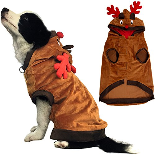 [Dog Costumes Pet Christmas Clothes Funny Reindeer Coat for Puppy Cat Medium] (Dog Outfits For Christmas)