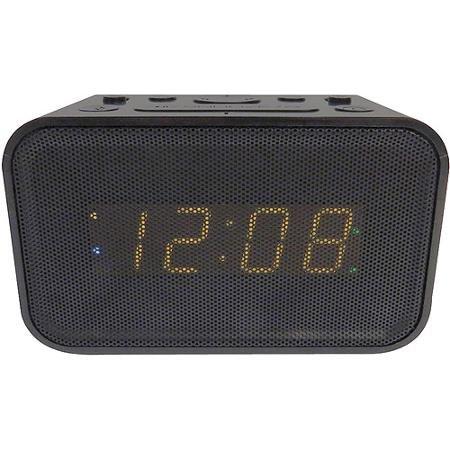 Bluetooth Wireless Speaker Dual Alarm Clock with USB Charger, Built-In Speakerphone Microphone, LED Display, and Battery Backup. (Display Speakerphone)
