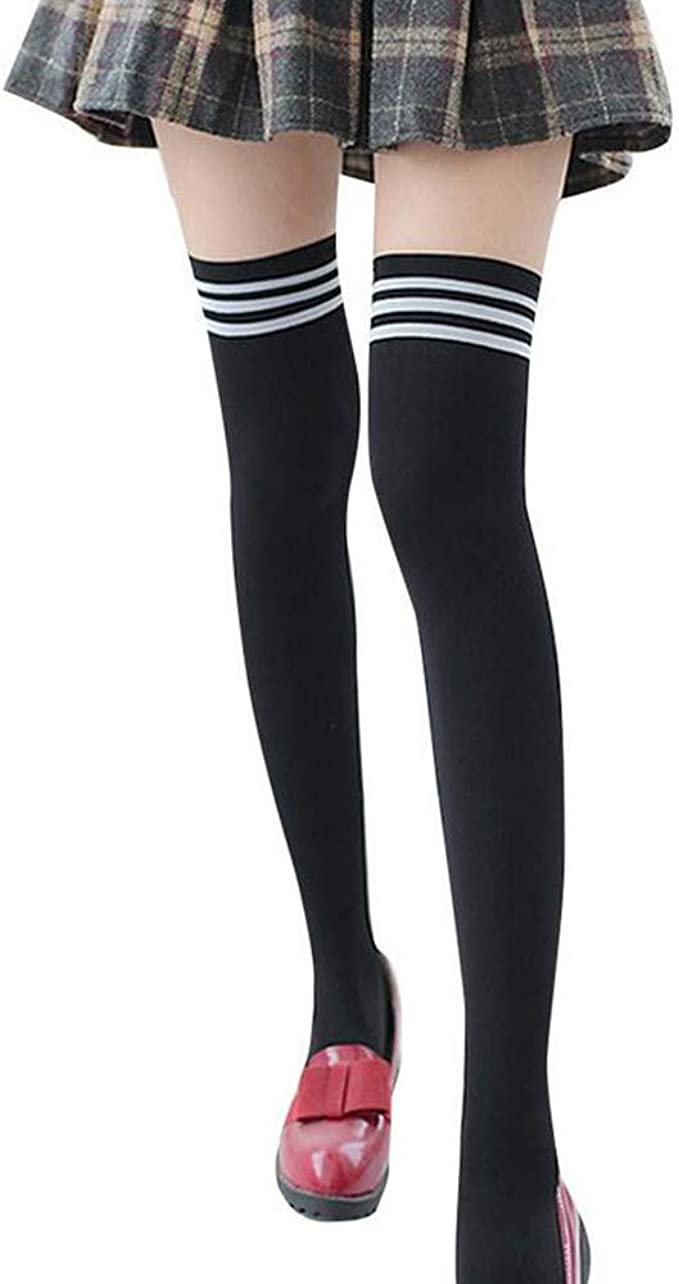 Zando Womens Striped Thigh High Socks Casual Over the Knee Socks Long Cosplay Socks knee High Stockings Leg Warmers