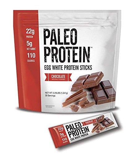 Paleo Protein Sticks : Chocolate (Egg Whites) (2lbs) (Soy Free) w/Monk Fruit (30 Sticks) (On The Go Protein Powder)