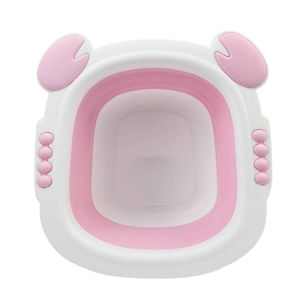 FNCUR Silicone Foldable Cartoon Children's Washbasin Light Washbasin Home Kitchen Use Travel Multi-Function Folding Plastic Washbasin (Color : Pink) by FNCUR