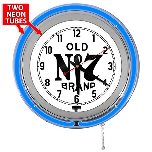"""Jack Daniels No 7 15"""" Blue Double Neon Garage Clock for sale  Delivered anywhere in USA"""
