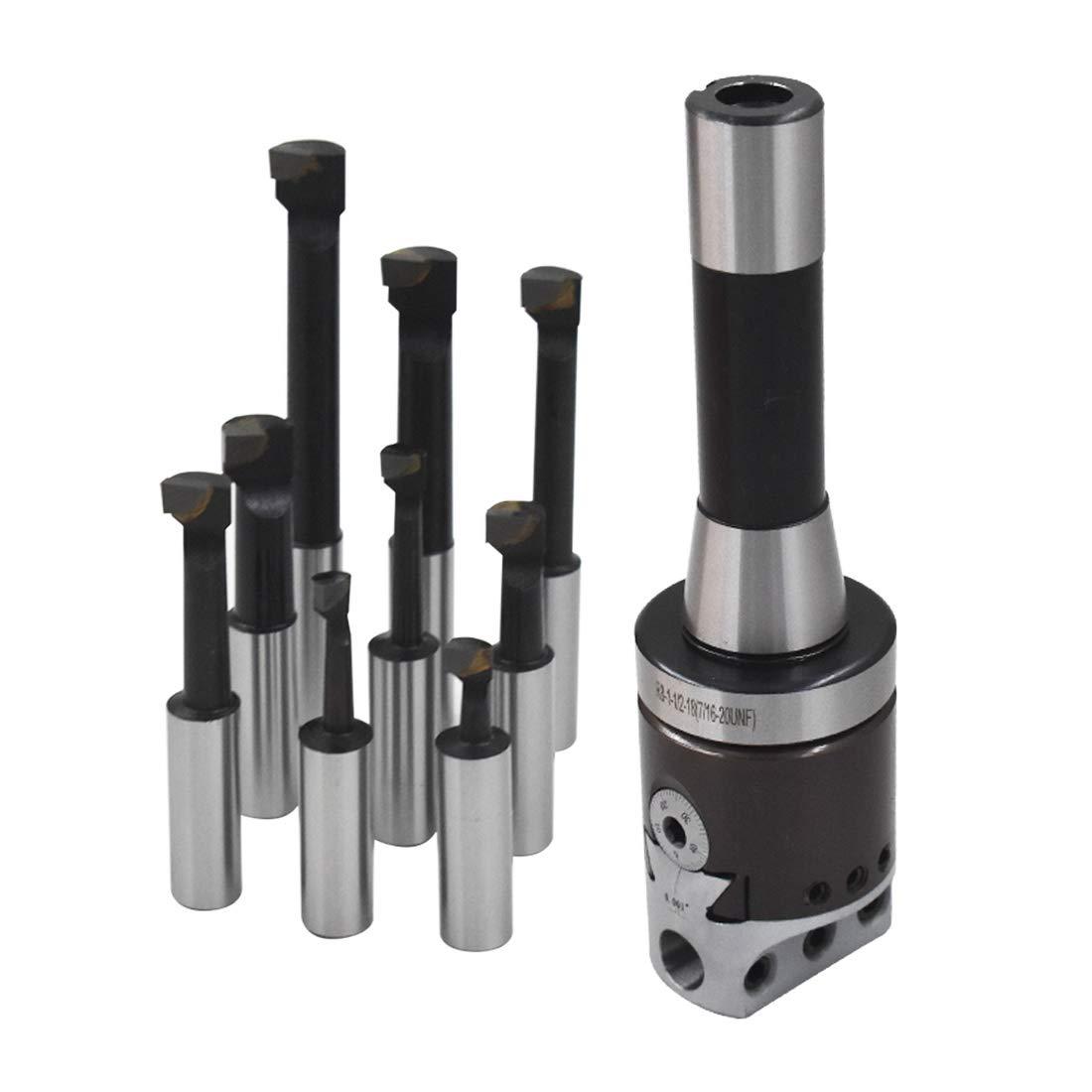 "HFS 9Pcs 2/"" Boring Head R8 Shank 1//2/"" Carbide Boring Bar Set Bridgeport Milling"