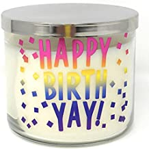 Bath & Body Works 3 Wick Conversation Candle, Happy BirthYay! (Midnight Blue Citrus)