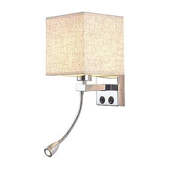 Métal Murale, Chevet E27 Cancui Moderne Étoffe Lampe Avec Applique nk0w8PO