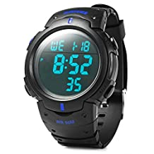 Rosegal Water Resistance Military LED Digital Watch Stopwatch Alarm Day Date Function(Blue)