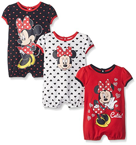 Disney Baby Minnie 3 Pack Rompers,Red/Black/White, 6-9 Months