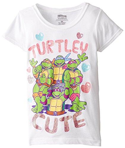 FREEZE Little Girls' TMNT Turtley Cute Short Sleeve Tee, White, 5/6