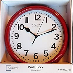 Sterling & Noble Round Wall Clock, Decorative, Modern Red