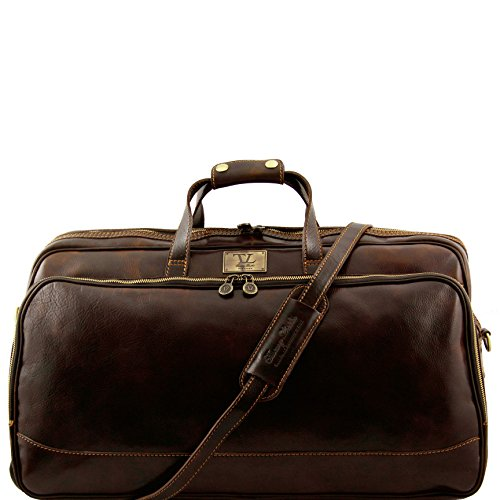 Tuscany Leather Bora Bora Trolley leather bag - Large size Dark Brown by Tuscany Leather