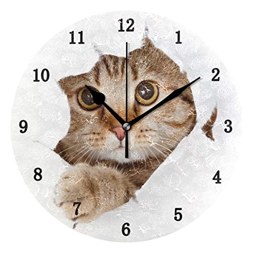 ZZKKO Cute Animal Cat Wall Clock, Silent Non Ticking Battery Operated Easy to Read Decorative Wall Clock for Kitchen Bedroom Bathroom Living Room Classroom by ZZKKO