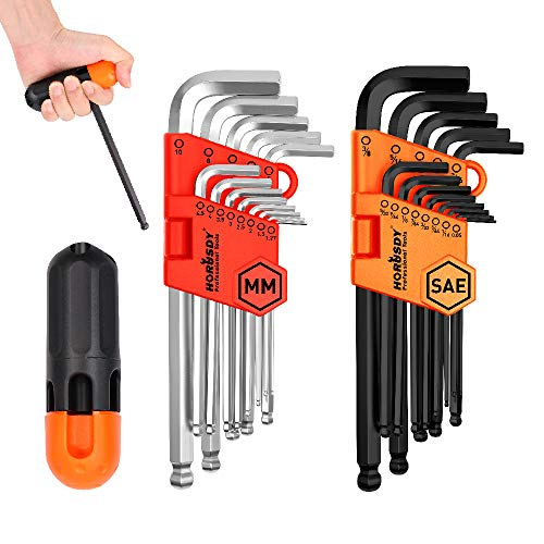 HORUSDY Allen Wrench Set, Hex Key Set Long Arm Ball End, Inch/Metric - Best Unique Tool Gift for Men (New Hex Keys)