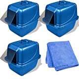 Van Ness CP7 Enclosed Cat Pan/Litter Box, Extra Large, 4-Pack with Cleaner Cloth