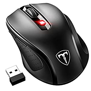 VicTsing Ratón Inalámbrico Mini, Portátil 2.4G con Receptor Nano, 6 Botones, 2400DPI, 5 dpi Adjustables (Negro) 51be6SLJZfL