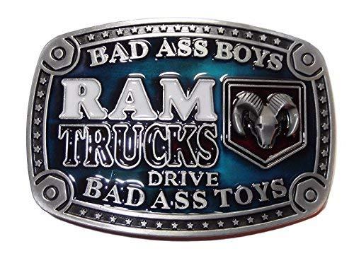 Dodge Ram Trucks Bad Ass Pewter Finish Metal Enamel Belt Buckle