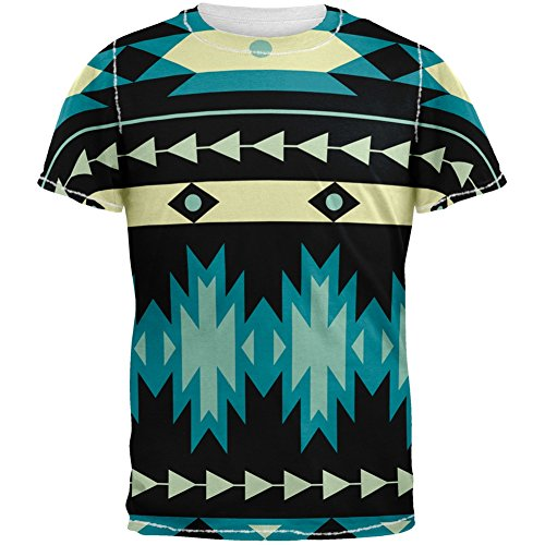 Native American Pattern Blue All Over Adult T-Shirt - X-Large