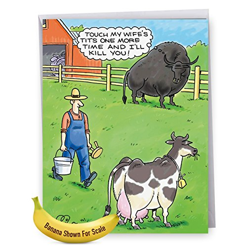 J2595BDG Jumbo Funny Birthday Greeting Card: Jealous Bull; With Envelope (Extra-Large Size: 8.5