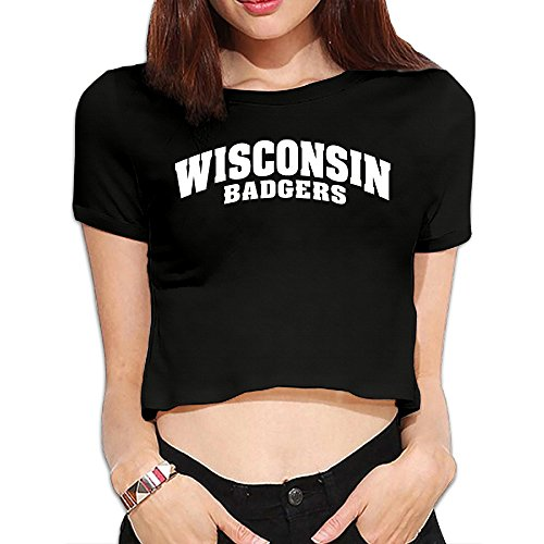 TLK Custom Women Wisconsin Badgers Logo Cotton Crop Top