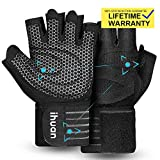 ihuan Professional Wrist Workout Gloves, Full Palm Protection and Better Ventilation Design, Great for Weight Lifting, Training, Fitness, Exercise, Hanging, Pull ups. Suits Men & Women (L)