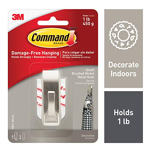 - Command 1 lb Capacity Silver Metal Hook, Small (MR01-BN-ES)