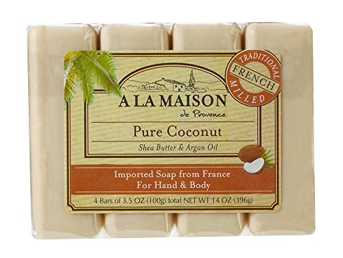 A La Maison Soap Bars, Pure Coconut, Value Pack 3.5 oz, 4 Count (Soap Coconut Oil Bar)