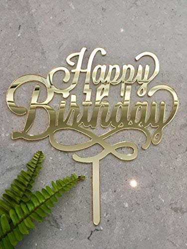 Happy Birthday Swirl Acrylic Gold Mirror Birthday Party Cake Topper