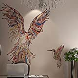 Amaonm Giant Huge Size Removable Vinyl Cute Cartoon Colorful Animals Parrot Birds Wall Decal Wall Stickers Murals Wallpaper for Offices Nursery room Bedroom Living room Background Decorations