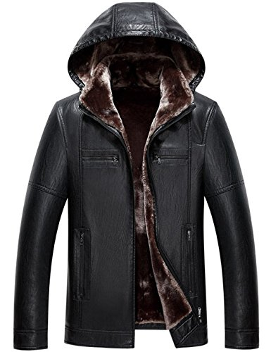 Tanming Men's Winter Warm Leather Coat Real Fur Hooded Leather Jacket (Large, (Fur Leather Coat)
