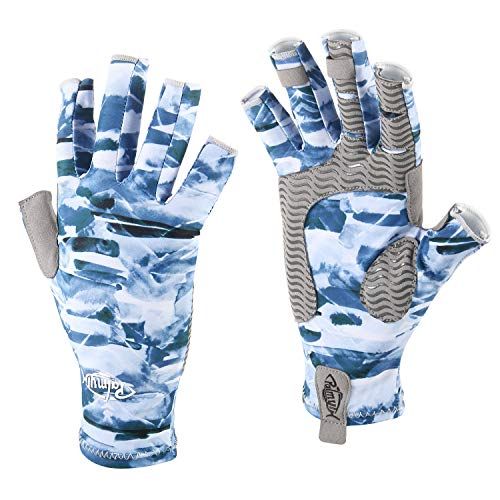 - Palmyth UV Protection Fishing Fingerless Gloves UPF50+ Sun Gloves Men Women for Kayaking, Hiking, Paddling, Driving, Canoeing, Rowing (Mountain Sky, Medium)