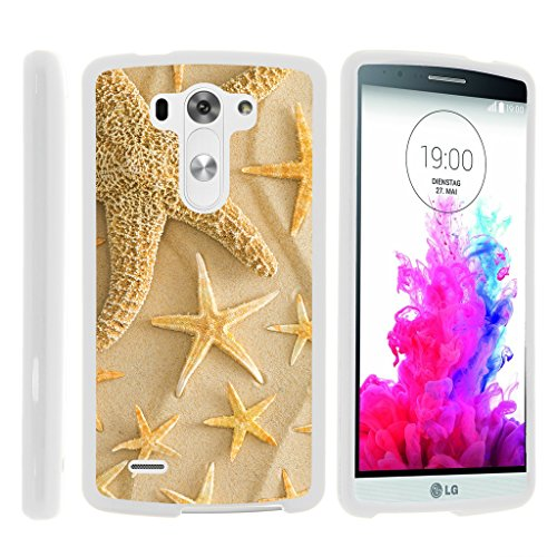 (TurtleArmor | LG G3 Case | D850 | D855 | D851 | VS985 | LS990 [Slim Duo] Fitted Ultra Compact Slim Hard Cover Rubberized Snap On Shell Protector on White Beach Design - Starfishes on Sand)