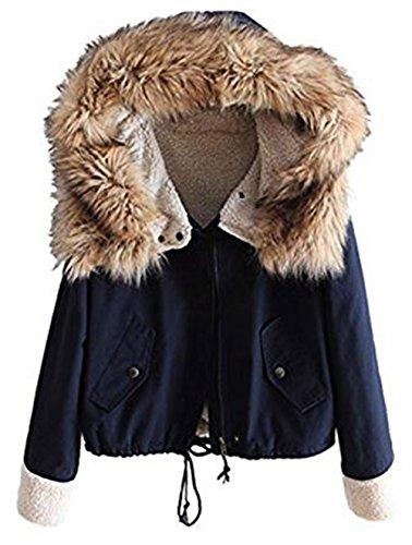 Sevenelks Damen Mädchen Winterjacke Jacke Mantel mit Kapuze Blau