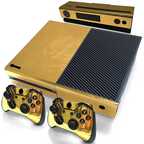 Gam3Gear Decals Skin Vinyl Sticker for Xbox ONE Console & Controller - Gold Glossy