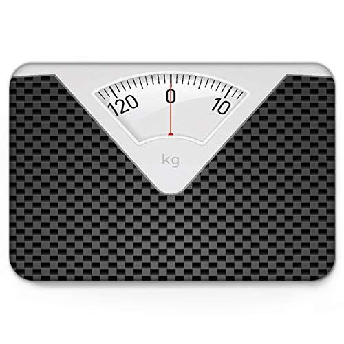 (Infinidesign Non Slip Indoor Bathroom Kitchen Decor Rug Mat Welcome Doormat Weight Scale Black Gray Lattice 18