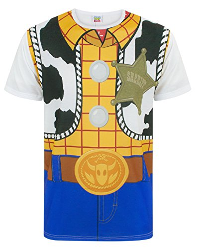 Toy Story Official Mens Woody Costume T-Shirt (M) (Multicoloured)]()
