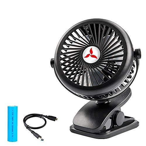 Zonhood Battery Operated Clip on Stroller Fan On Fan with Portable Desk Fan, 2200mAh Rechargeable Battery Powered Fan, 3 Adjustable Speeds, Mini Table Fan for Office, Home and Outdoor Travel