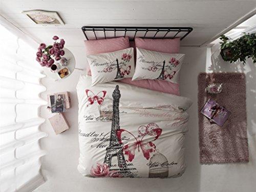 100% Turkish Cotton 8 Pcs ! Paris Eiffel Tower Theme Themed Pink Butterfly Full Double Queen Size Quilt Duvet Cover Set Bedding 8pcs ( including quilt)