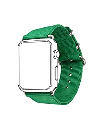 Nylon Band for Apple Watch 38MM, Bandmax Green Grass Nylon Fabrics Replacement Strap for Series 2/1(Greenery)