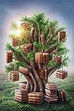 LFEEY 5x7ft Fantasy Books Tree Photography Backdrop Fairytale Hanging Vintage Book Stacks Tree of Wisdom on Grassland Photo Background Back to School Photo Studio Props Vinyl Banner